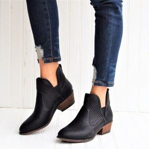 Shoes - New Black Vegan Leather Ankle Bootie Boot